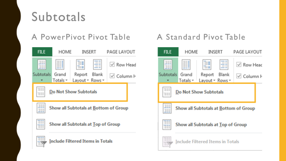 10 differences between a PowerPivot Pivot Table and a