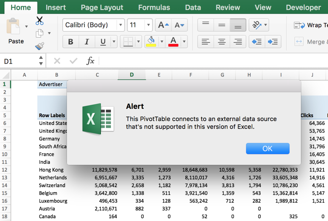 6 Major Differences between Excel 2016 for Windows and Excel 2016